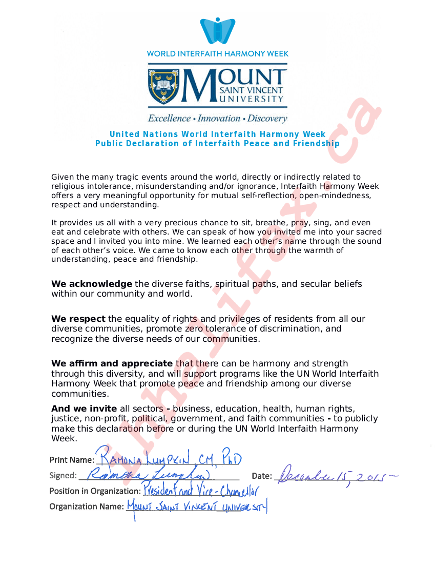 Mount St. Vincent University Declaration-large