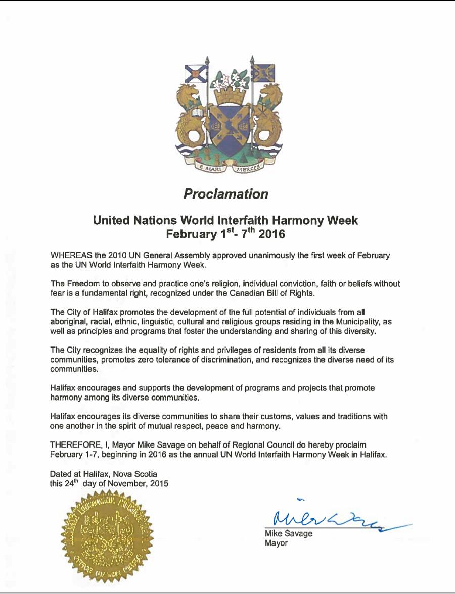Interfaith Harmony Halifax receives Proclamation of February 1-7 as the annual UN World Interfaith Harmony Week in Halifax from the Mayor and City Council. 24 November 2015.