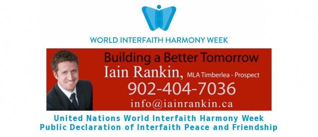 MLA Iain Rankin Declares Interfaith Peace and Friendship