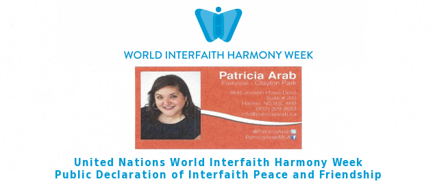 MLA Patrica Arab Declares Interfaith Peace and Friendship