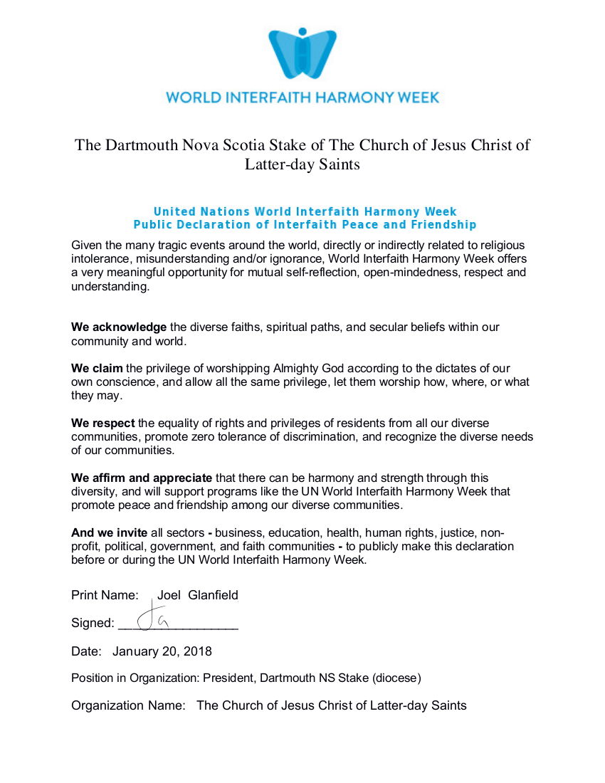 The Church of Jesus Christ of Latter-day Saints Declares Interfaith Peace and Friendship