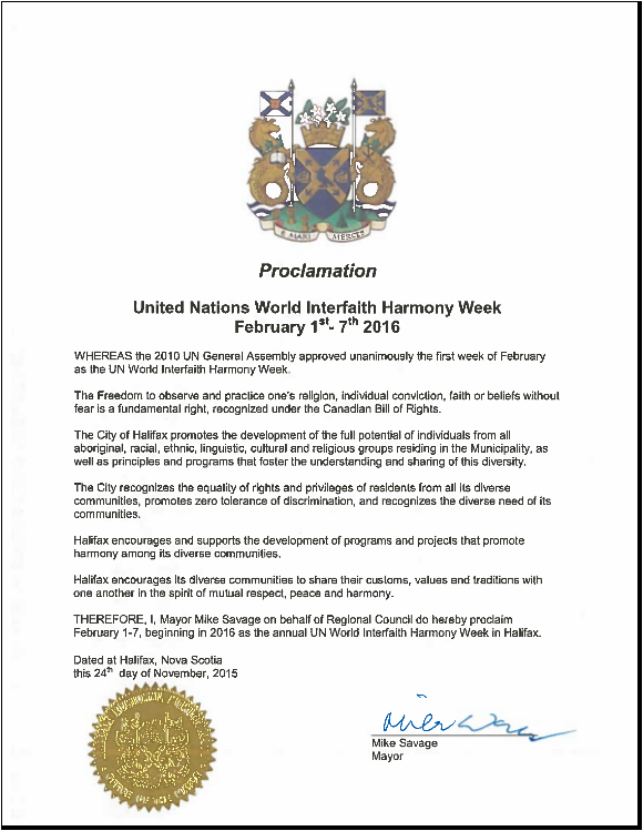 Mayor of Halifax Proclaims UN World Interfaith Harmony Week